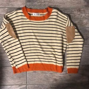 Sweaters - Stripe cropped sweater with elbow patches